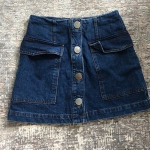 TopShop Mini Denim Skirt with Button Front